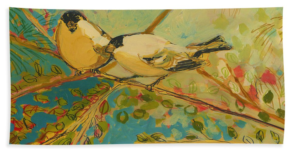Bird Bath Towel featuring the painting Two Goldfinch Found by Jennifer Lommers
