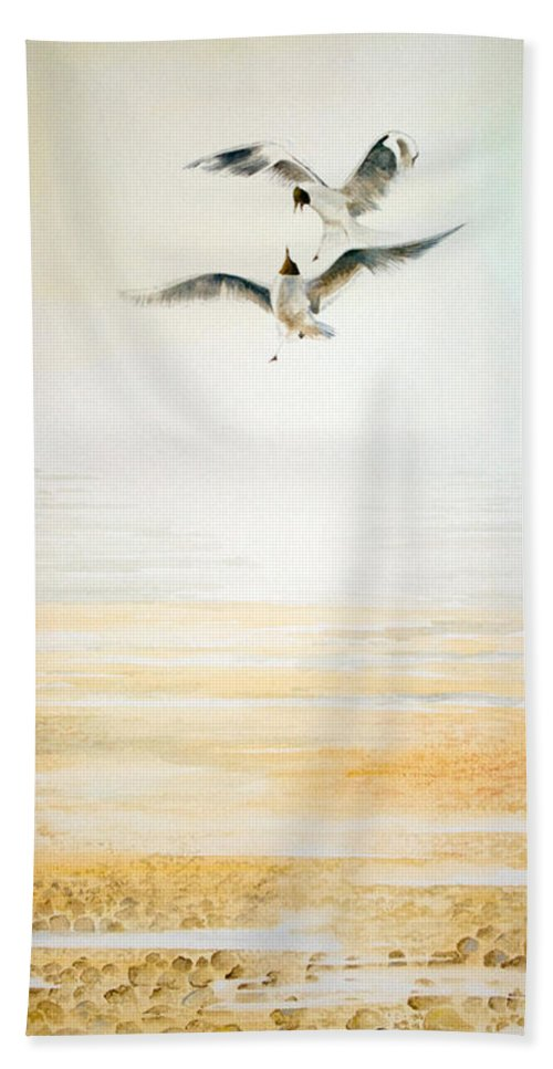 Seagulls Hand Towel featuring the painting Two Gulls by Alan Pickersgill
