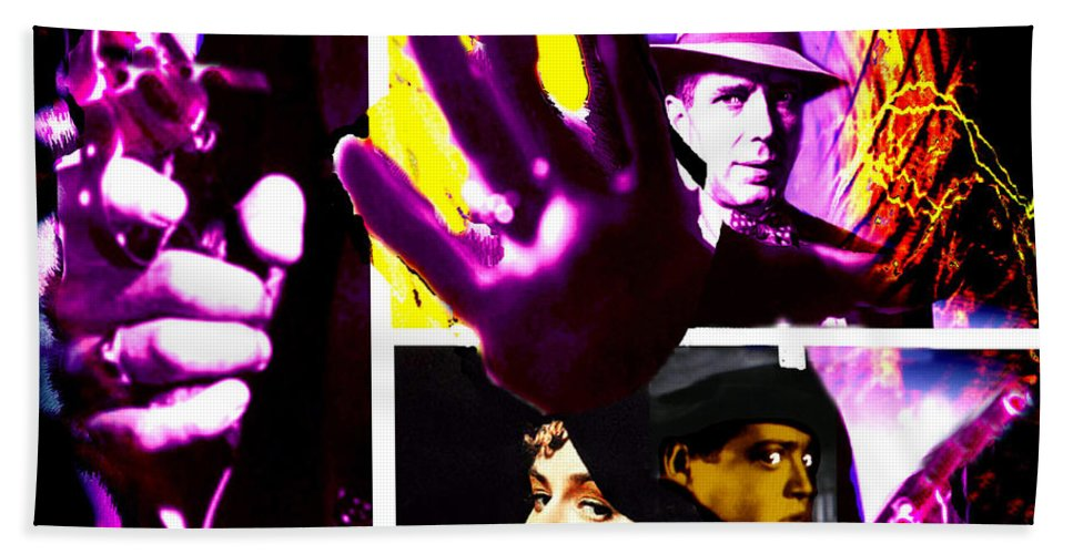 Humphrey Bogart Hand Towel featuring the digital art Two Guys Two Guns And A Dame by Seth Weaver