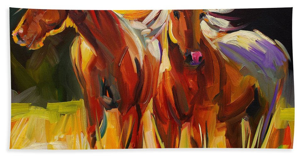 Painting Bath Towel featuring the painting Two Horse Town by Diane Whitehead