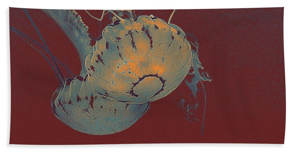 Nature Bath Sheet featuring the painting two Jelly fish by Celestial Images