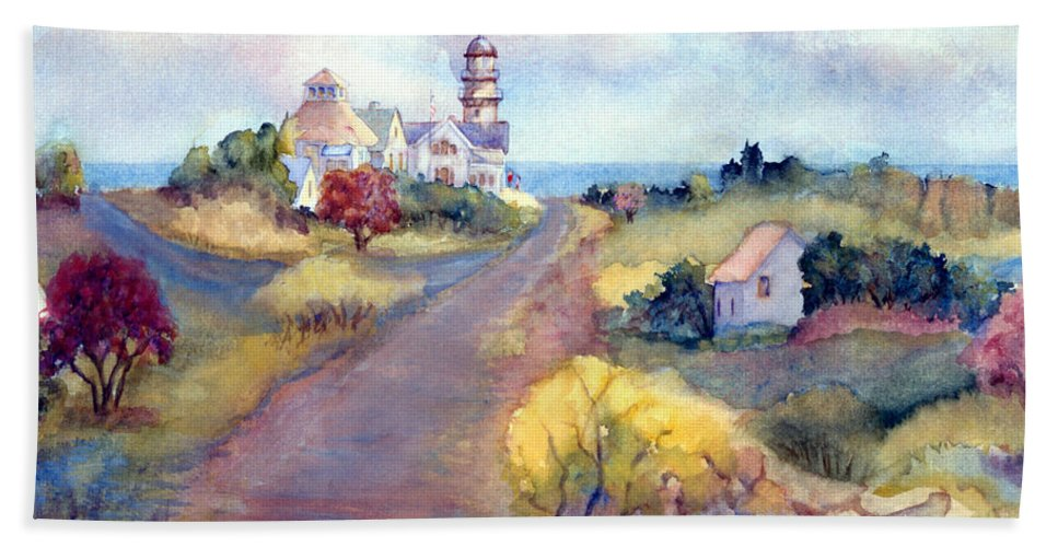 Two Lights Bath Sheet featuring the painting Two Lights In Cape Elizabeth Maine by Pamela Parsons