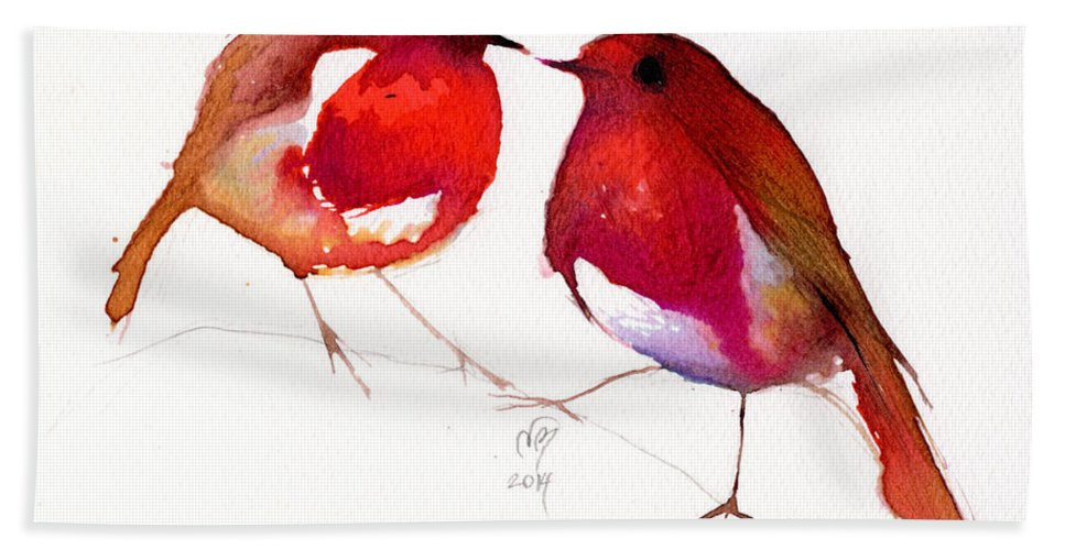 Two Bath Sheet featuring the painting Two Little Birds by Nancy Moniz