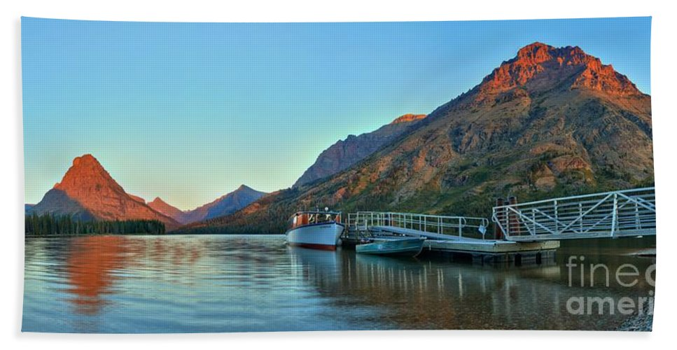 Two Medicine Hand Towel featuring the photograph Two Medicine Boat Dock by Adam Jewell