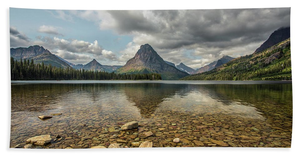 Glacier Bath Sheet featuring the photograph Two Medicine Lake by Peter Tellone