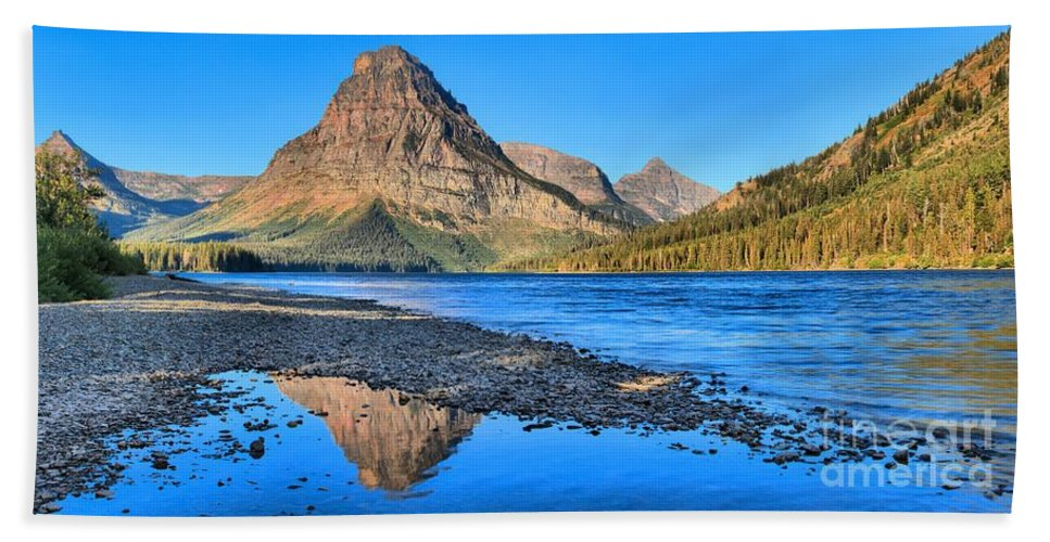 Two Medicine Hand Towel featuring the photograph Two Medicine Lake Sunrise Panorama by Adam Jewell