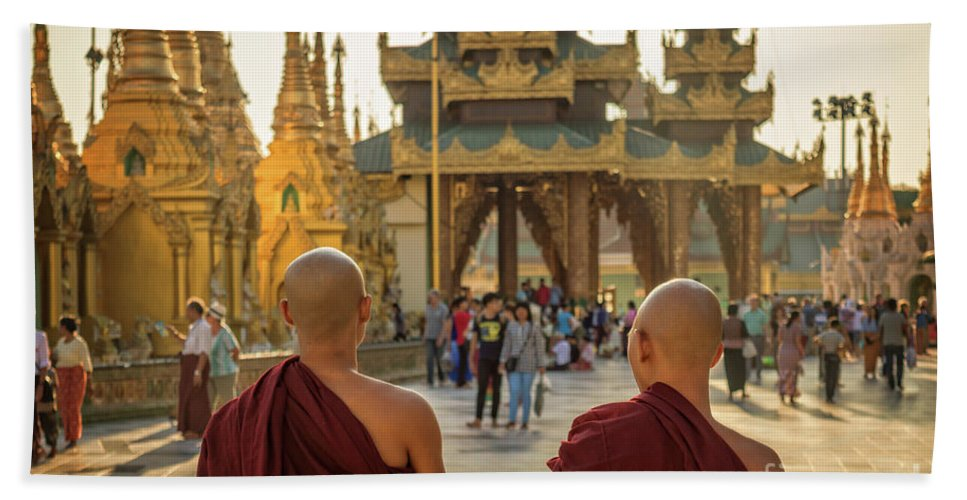 Burma Bath Towel featuring the photograph Two Monks by Louise Poggianti