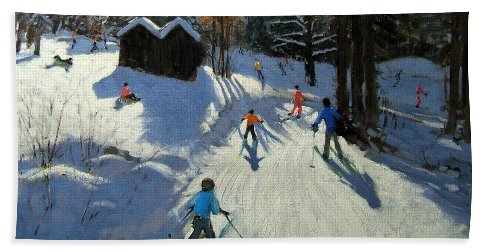 Sledging Hand Towel featuring the painting Two Mountain Huts by Andrew Macara