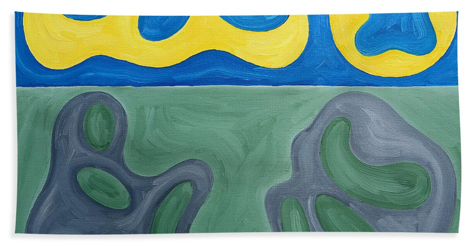 Beach Hand Towel featuring the painting Two Nudes On Beach by Patrick J Murphy