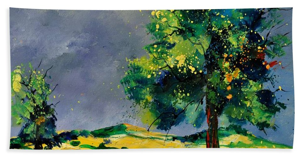 Landscape Hand Towel featuring the painting Two Oaks 56 by Pol Ledent