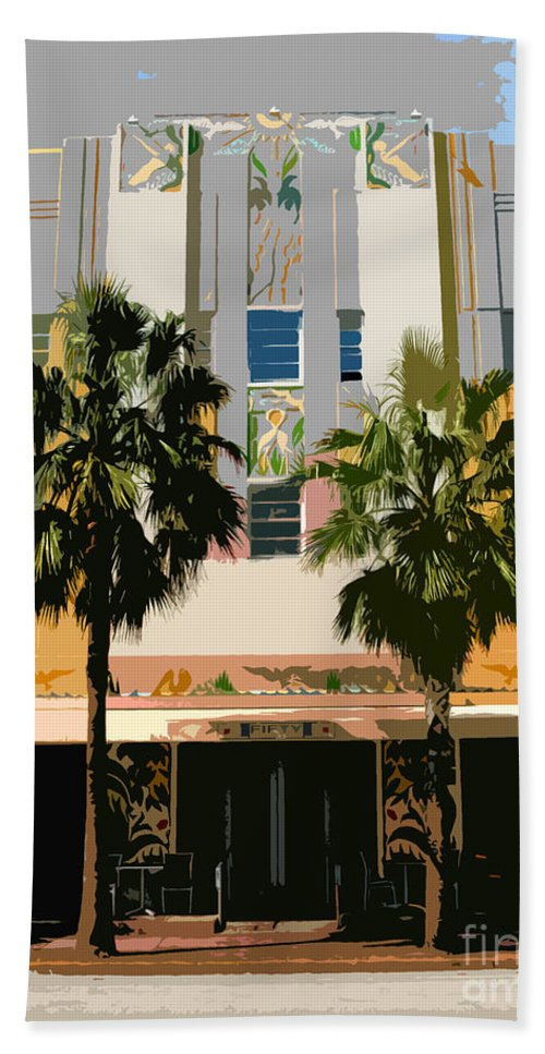 Miami Beach Florida Bath Towel featuring the photograph Two Palms Art Deco Building by David Lee Thompson