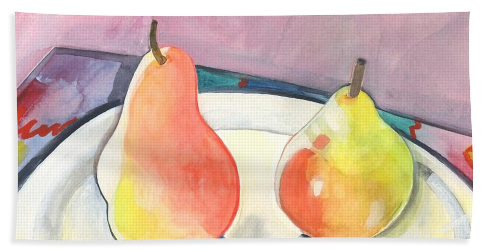 Pear Bath Towel featuring the painting Two Pears by Helena Tiainen