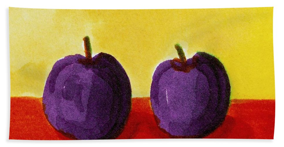 Yellow Bath Sheet featuring the painting Two Plums by Michelle Calkins