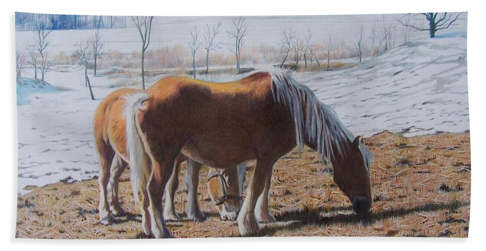 Horses Hand Towel featuring the mixed media Two ponies in the snow by Constance Drescher