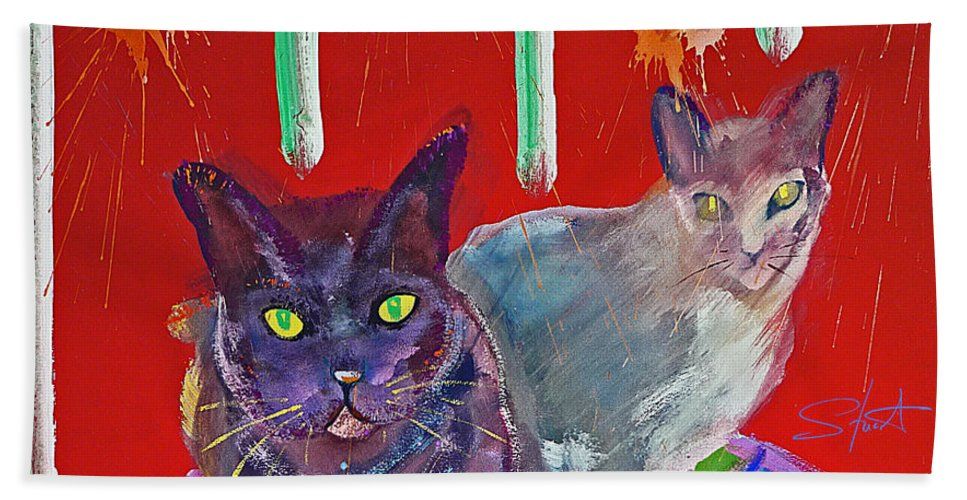 Cat Bath Towel featuring the painting Two Posh Cats by Charles Stuart