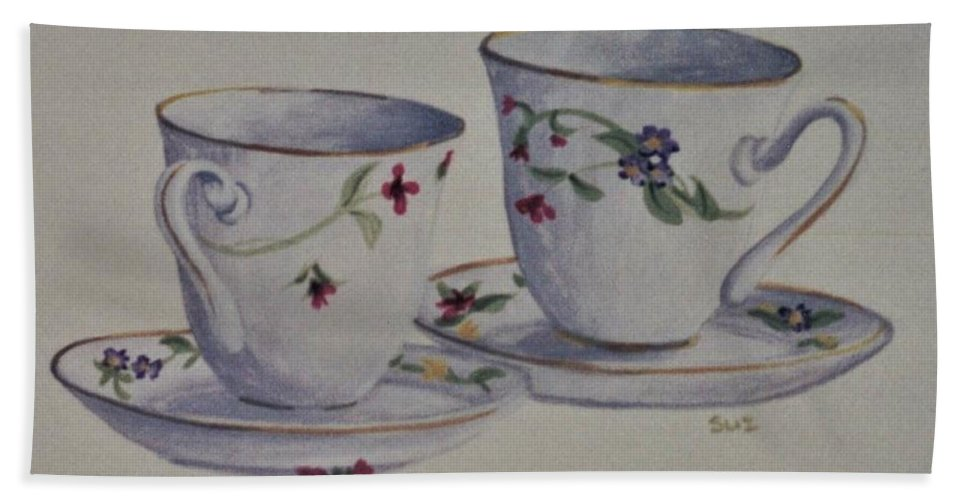 Two Bath Sheet featuring the painting Two Pretty Teacups by Suzn Art Memorial