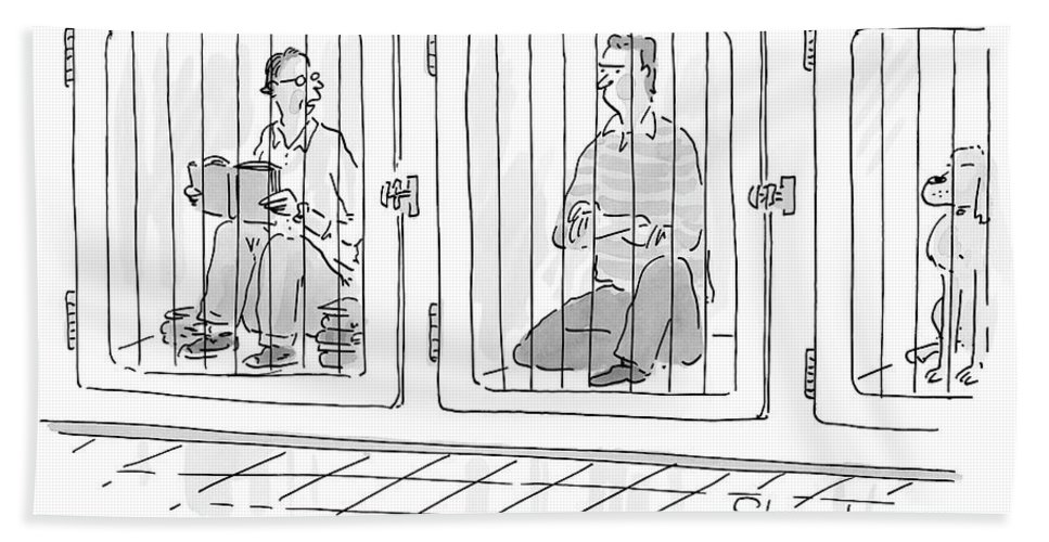 """try To Look Housebroken."" Bath Sheet featuring the drawing Two Prisoners Sit In Separate Dog Kennel Cells by Danny Shanahan"