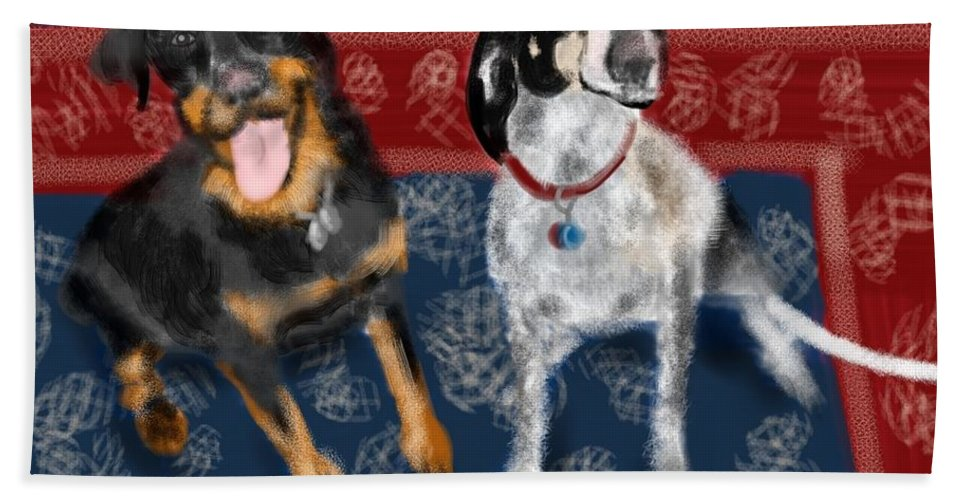Persian Carpet Bath Sheet featuring the painting Two Pups On A Persian Carpet by Lois Ivancin Tavaf