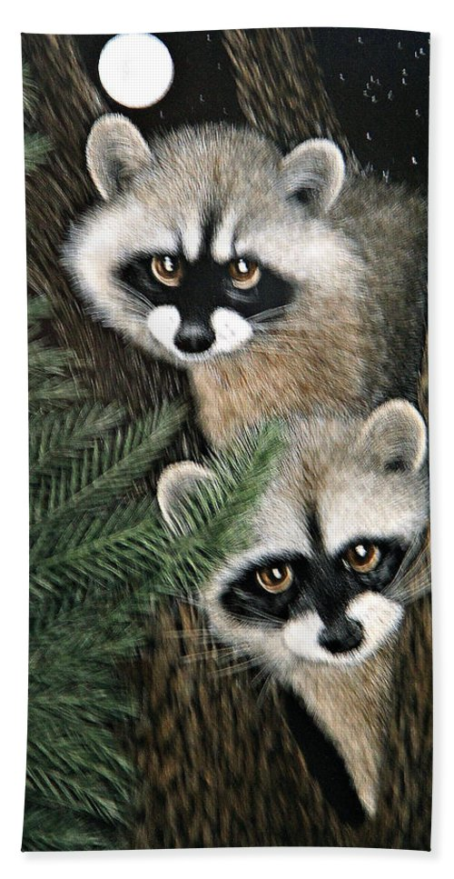 Raccoons Bath Sheet featuring the painting Two Raccoons by Angie Cockle
