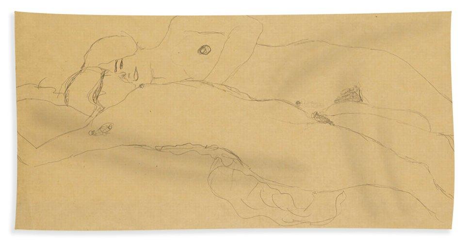 Gustav Klimt Bath Sheet featuring the drawing Two Reclining Girls by Gustav Klimt