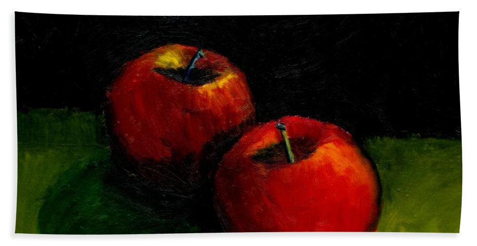Red Hand Towel featuring the painting Two Red Apples Still Life by Michelle Calkins