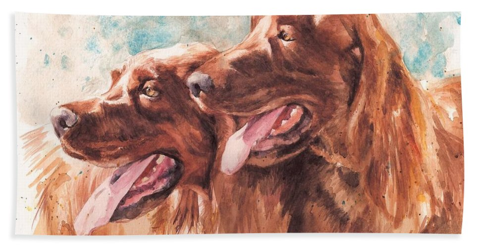 Irish Setter Dog Bath Sheet featuring the painting Two Redheads by Debra Jones