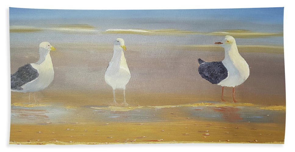 Seagull Hand Towel featuring the painting Two Seagulls Wondering Where The Chips Have Gone by Russell Collins