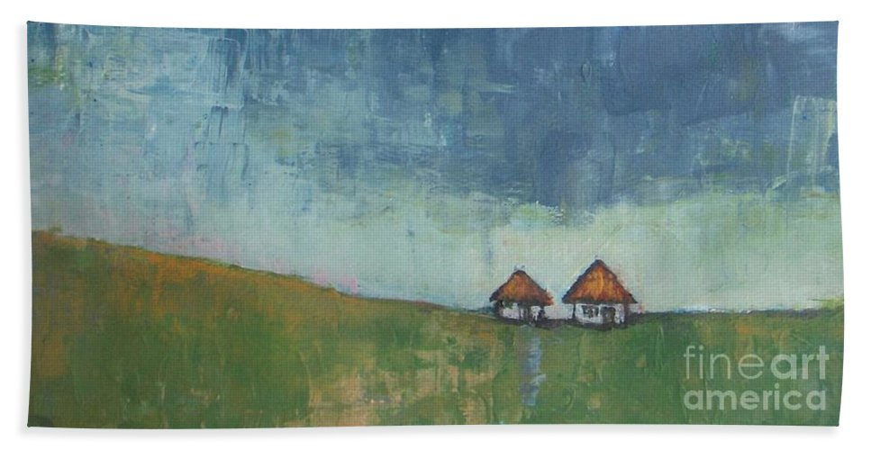 Abstract Landscape Bath Sheet featuring the painting Two Sisters Houses by Vesna Antic
