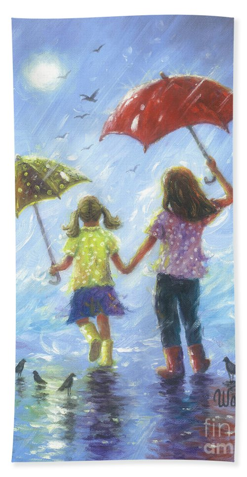 Two Sisters Hand Towel featuring the painting Two Sisters Rain Blond Little Sister by Vickie Wade