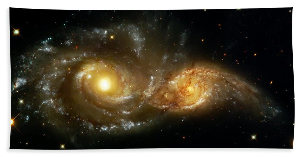 Nebula Bath Towel featuring the photograph Two Spiral Galaxies by Jennifer Rondinelli Reilly - Fine Art Photography