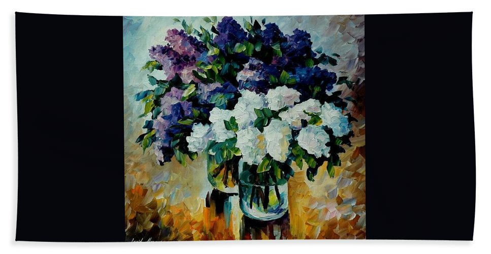 Painting Bath Sheet featuring the painting Two Spring Colors by Leonid Afremov