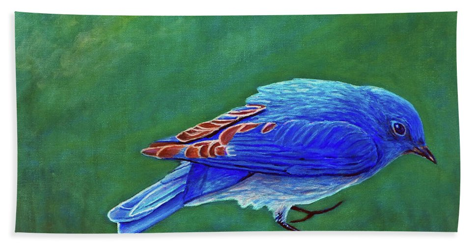 Bluebird Bath Sheet featuring the painting Two Step by Brian Commerford