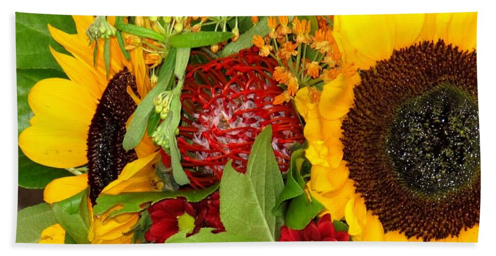 Sunflower Hand Towel featuring the photograph Two Suns by Ian MacDonald