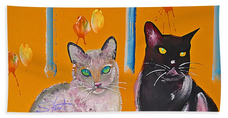 Cat Bath Towel featuring the painting Two Superior Cats With Wild Wallpaper by Charles Stuart