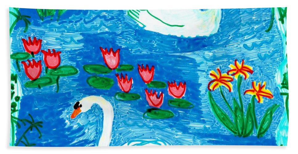 Sue Burgess Bath Sheet featuring the painting Two Swans by Sushila Burgess