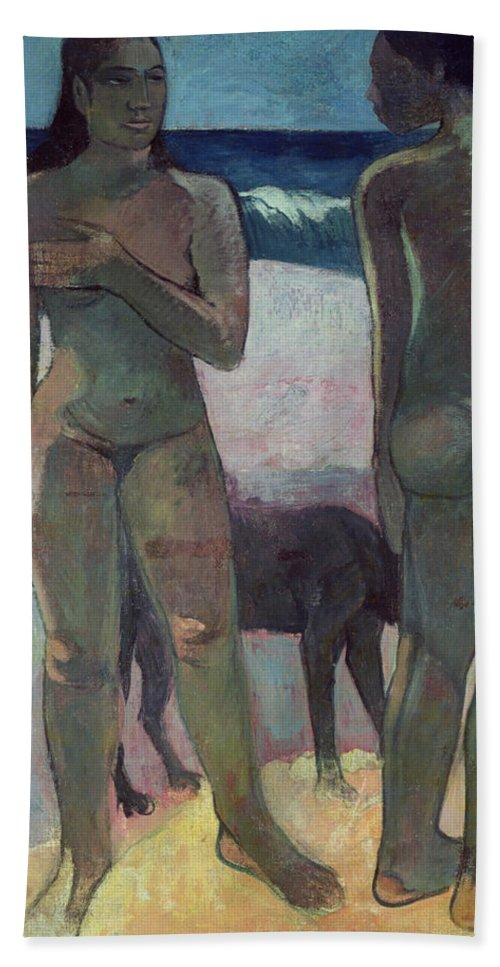 Two Tahitian Women On The Beach Hand Towel featuring the painting Two Tahitian Women On The Beach by Paul Gauguin