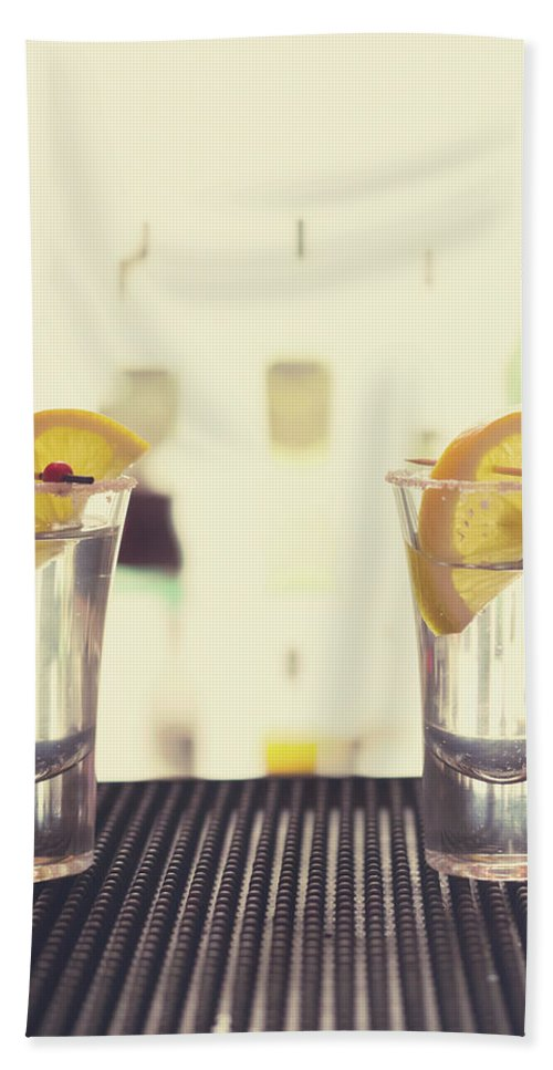 Refreshment Bath Sheet featuring the photograph Two Tequilas by Ekaterina Molchanova