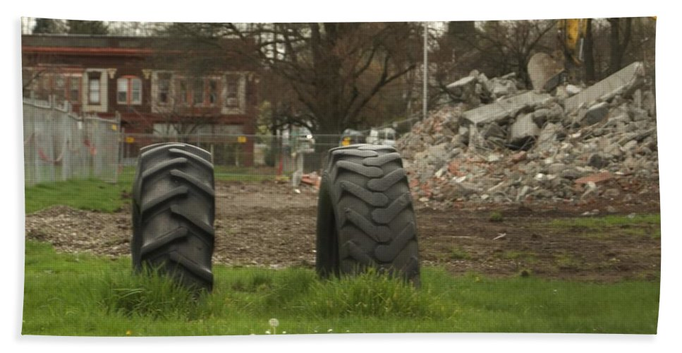 Tires Hand Towel featuring the photograph Two Tires by Sara Stevenson