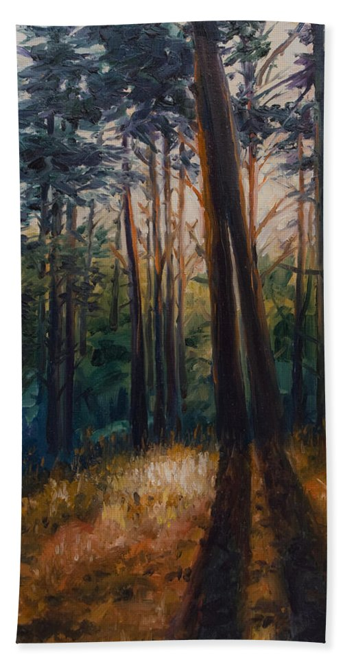 Trees Bath Sheet featuring the painting Two Trees by Rick Nederlof