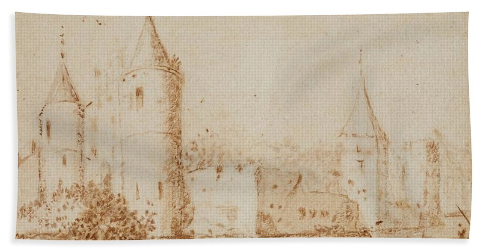 Allart Van Everdingen Bath Sheet featuring the painting Two Views Of Egmond Castle by Allart van Everdingen