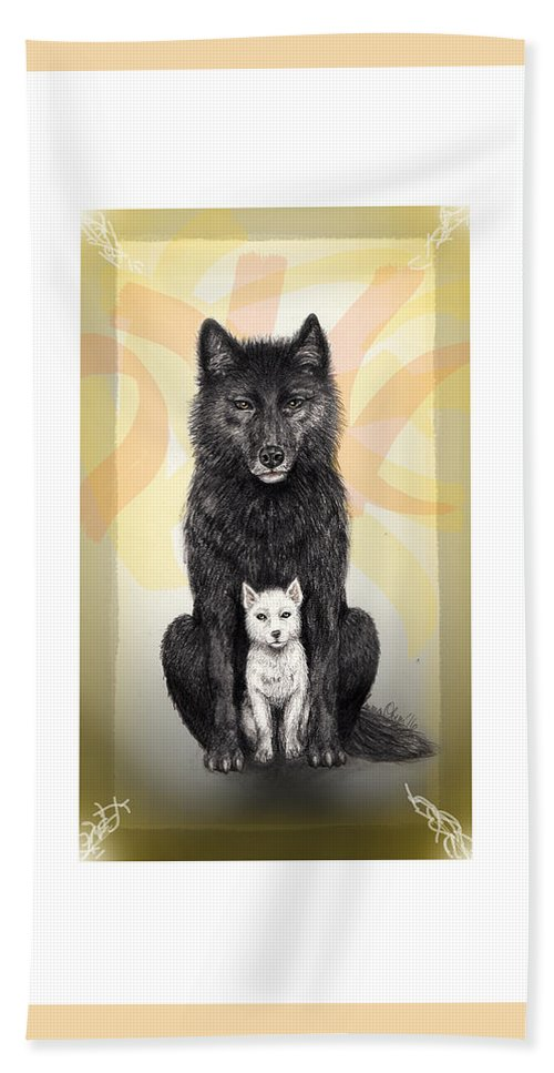 Wolves Hand Towel featuring the mixed media Two Wolves by Emma Olsen