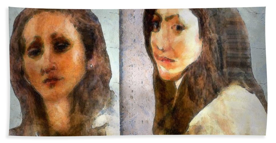 Abstract Expressionism Bath Sheet featuring the painting Two Women by RC DeWinter