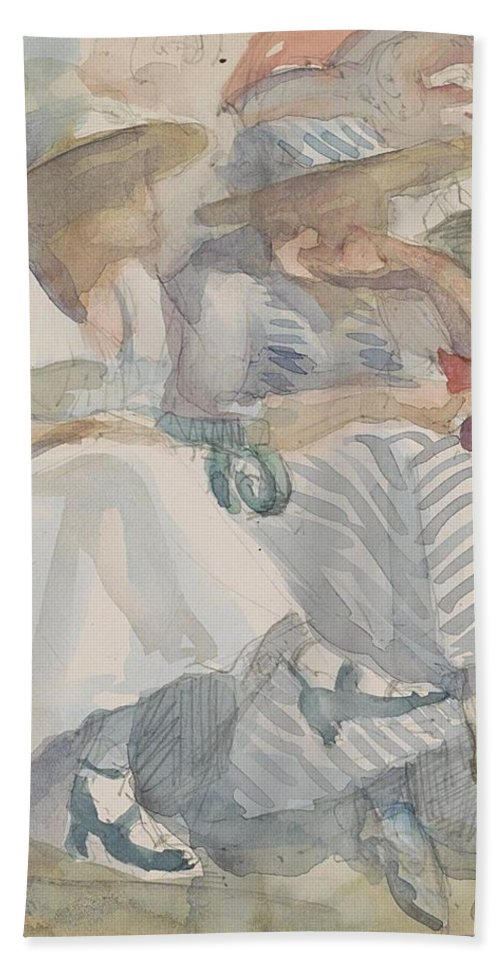Two Women Sitting In The Front Row Of An Audience Bath Sheet featuring the painting Two Women Sitting In The Front Row Of An Audience by MotionAge Designs