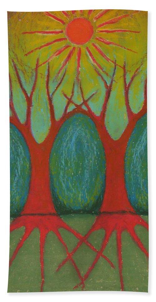 Colour Bath Sheet featuring the pastel Two Worlds by Wojtek Kowalski