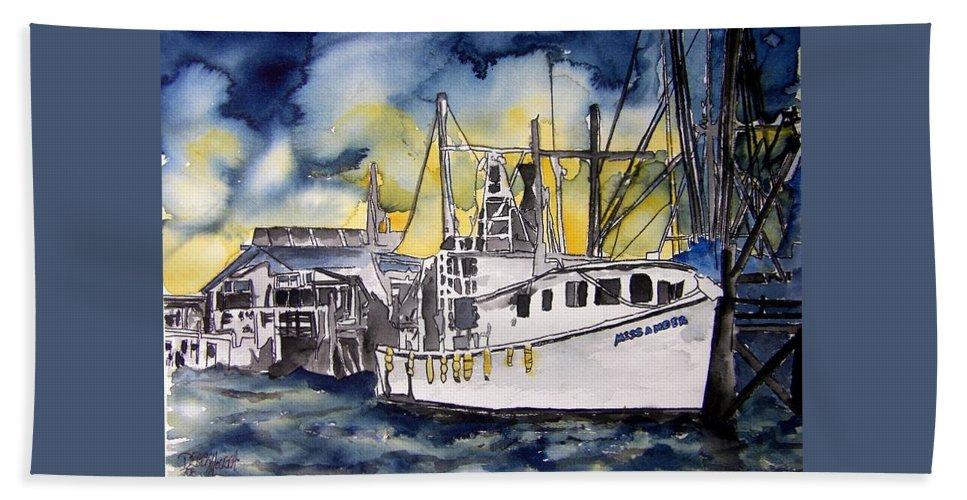 Georgia Bath Sheet featuring the painting Tybee Island Georgia Boat by Derek Mccrea