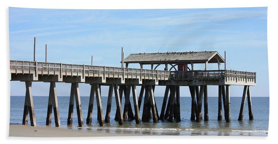 Tybee Island Pier Hand Towel featuring the photograph Tybee Island Pier Closeup by Carol Groenen