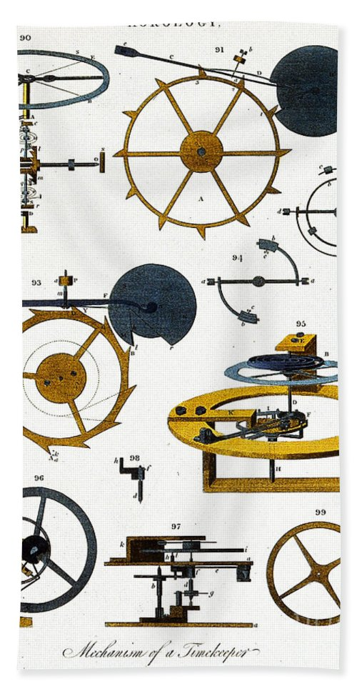 Historic Hand Towel featuring the photograph Types Of Clock Mechanism, 1810 by Wellcome Images
