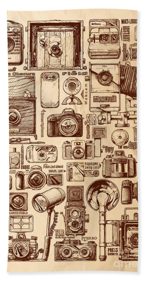 Poster Hand Towel featuring the drawing Types Of Photo Cameras by Alexander Babich