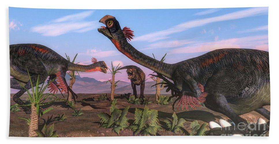 Dinosaur Bath Sheet featuring the digital art Tyrannosaurus Rex Attacking by Elena Duvernay