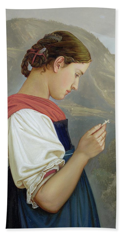 Tyrolean Girl Contemplating A Crucifix Hand Towel featuring the painting Tyrolean Girl Contemplating A Crucifix by Rudolph Friedrich Wasmann